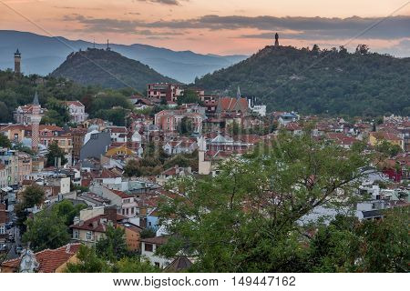 Sunset view of city of Plovdiv from Nebet tepe hill, Bulgaria