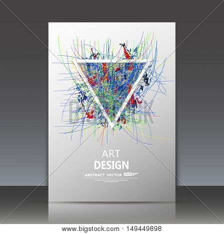 Abstract composition, curve lines structure, spotted blot, smeary blur, sloppy surface backdrop, soiled brochure title sheet, splotchy colored triangle icon, fashionable fiber texture, vector
