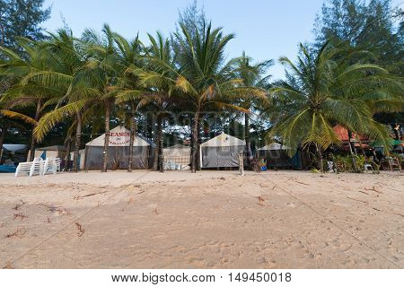 Empty And Dirty Beach Area During Low Tourist And Rainy Season