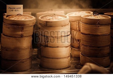 Dim sum steamers at a Chinese restaurant in Bangkok Thailand