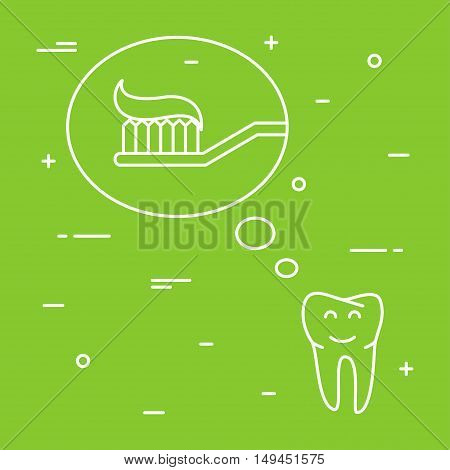Tooth thinks about toothbrush with toothpaste linear vector illustration. Dental tooth care creative concept. Healthy tooth hygiene toothbrush toothpaste symbol. Clean tooth prevention design.
