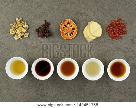 set of asian herbal tea. Chrysanthemum Roselle quince ginger Safflower