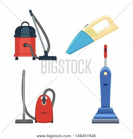 vacuum cleaner set vector illustration isolated on a white background