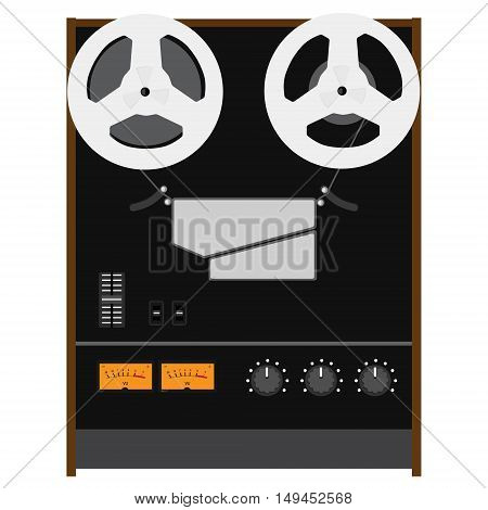 Vector illustration Hi-Fi analog stereo reel to reel tape recorder deck with UV meter