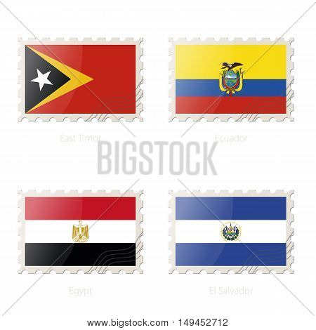 Postage Stamp With The Image Of East Timor, Ecuador, Egypt, El Salvador Flag.