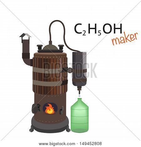 Copper distiller makes an alcoholic drink. Distillation machine. Drink made from Braga. Vector flat isolated cartoon illustration.
