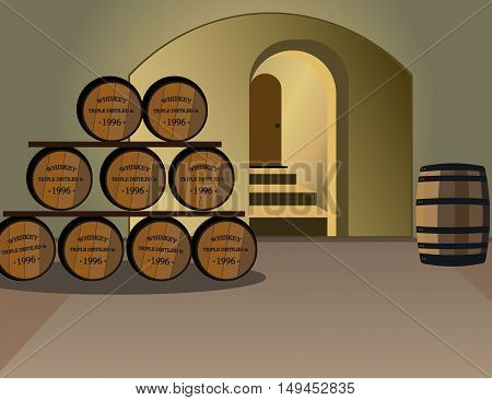 Wine cellar with barrels of alcohol. An old wine barrels. Wooden barrels of whiskey