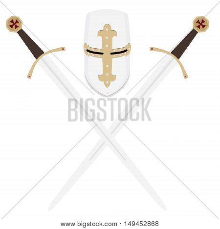 Vector illustration medieval templar knight helmet and two crossed swords. Metallic crusader armor. Medieval weapon