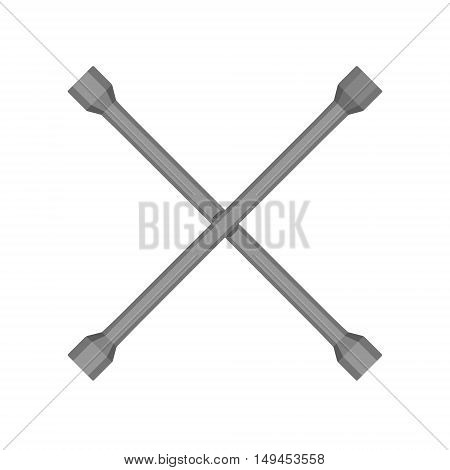 Vector illustration two crossed metal car wrench. Wrench icon.