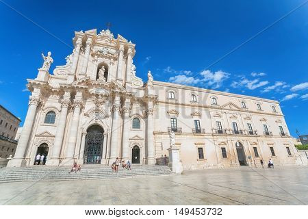 SYRACUSY, SICILY, ITALY - JUNE 26, 2016: Cathedral of Syracuse. Travel Photography from Syracuse, 6Italy on the island of Sicily. Cathedral Plaza