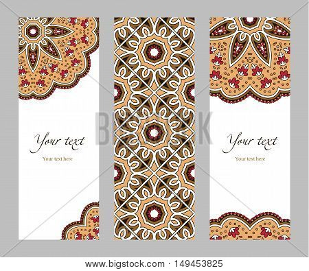 Set of narrow vertical banners with decorative circular ethnic elements on a white background, orange red brown beige black, vector illustration