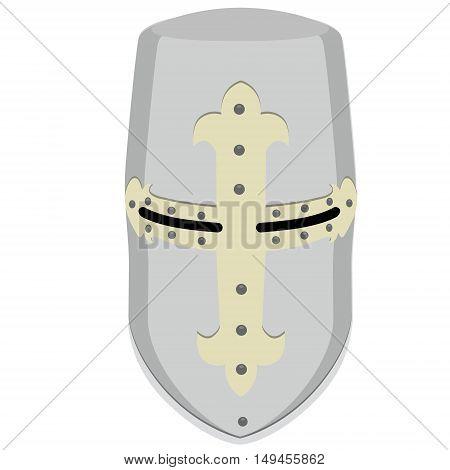Vector illustration medieval temlar knight helmet. Metallic crusader armor. Retro style