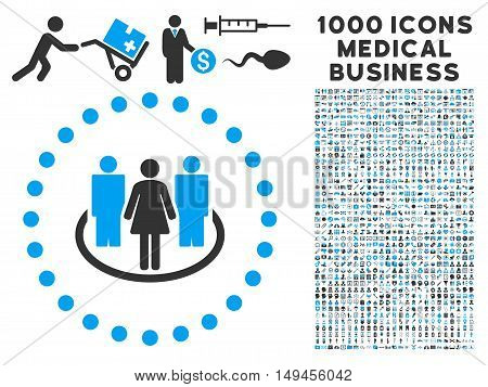 Society icon with 1000 medical business gray and blue vector pictograms. Design style is flat bicolor symbols, white background.