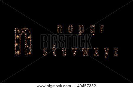 Alphabet Letters From Glittering Gold Stars