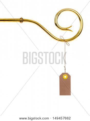 Staff of Sinterklaas with vintage Tag or Label. Isolated on white background.