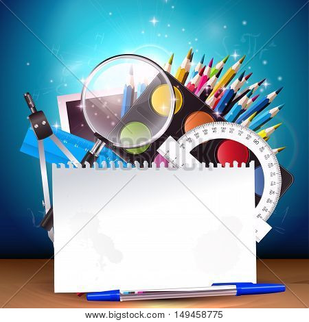 Back to school - vector background with school supplies and place for text