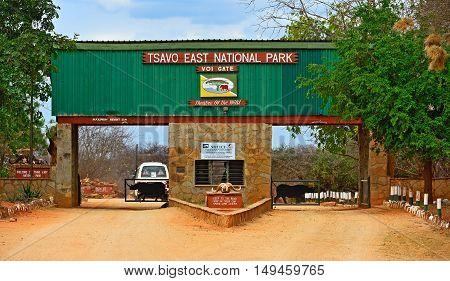 Tsavo Safari Park, Kenya - August 08: The Entrance Of The Natural Park Safari Tsavo. Tsavo National