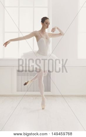 Classical Ballet dancer side view. Beautiful graceful ballerine practice ballet positions in tutu skirt near large window in white light hall. Ballet class training, high-key soft toning. poster