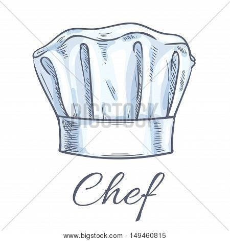 Chef toque vector sketch icon. Cook cap, kitchen cooking hat emblem for restaurant design element, bakery signboard