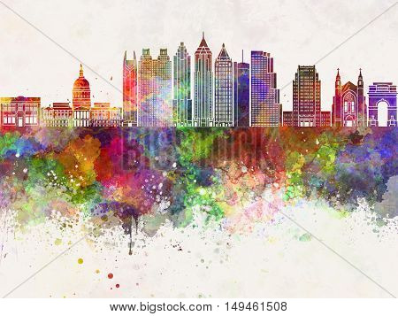 Atlanta skyline in artisc abstract watercolor background