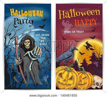 Halloween Party design with traditional horror celebration elements scary death reaper, spooky orange pumpkin lantern. Trick or Treat invitation card, banner with halloween bat, cat, forest. cemetery background