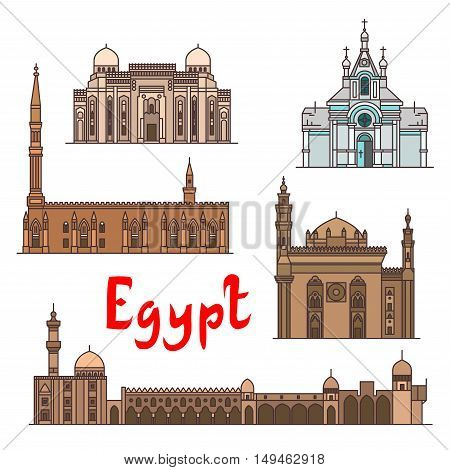 Egypt historic landmarks and sightseeings, famous showplaces. Vector detailed icons of Saint Virgin Mary Church, Abu al-Abbas al-Mursi, Al-Hussein, Al-Azhar Mosque, Mosque-Madrassa of Sultan Hassan for souvenir decoration elements