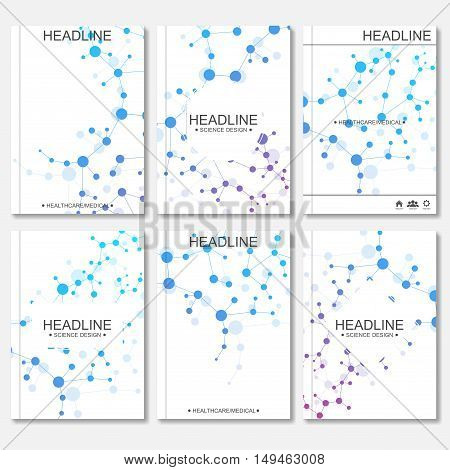 Modern vector templates for brochure, flyer, cover magazine or report in A4 size. Molecule structure and communication on the blue background..