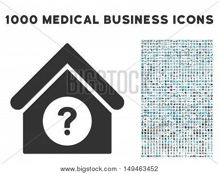 Status Building icon with 1000 medical business gray and blue vector design elements. Clipart style is flat bicolor symbols, white background.