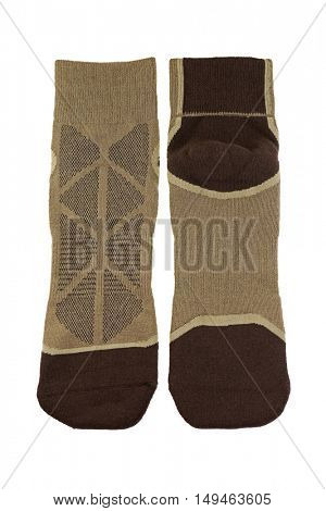 Thick wicking socks in brown color. Comfortable hiking soft socks isolated on white background.