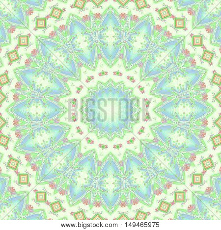 Abstract geometric seamless background multicolored. Regular concentric ornament with ellipses and diamond pattern in beige, mint green, purple and violet.