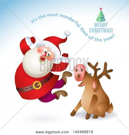 Happy New Year 2017 banner with Santa Claus and deer. Vector Christmas illustration with Santa and deer isolated on white background