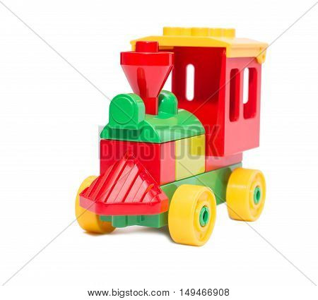 Toy steam train isolated, multicolored train from constituents