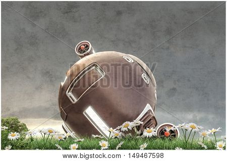 3d illustration of a space capsule on a green field
