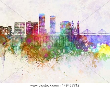 Omaha skyline artisc abstract in watercolor background