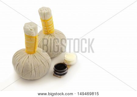 Textile massage spa compress balls isolated on white background