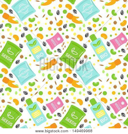 Seamless Pattern Fertilizer Vector Illustrations. Seeds Pack Design. Bottle of Bio Fertilizers. Corn and Grain elements. Hand Sowing Flower Seed. Flat Argiculture Collection.