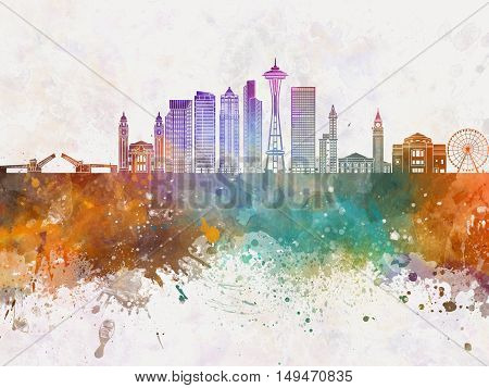 Seattle skyline artisc abstract in watercolor background