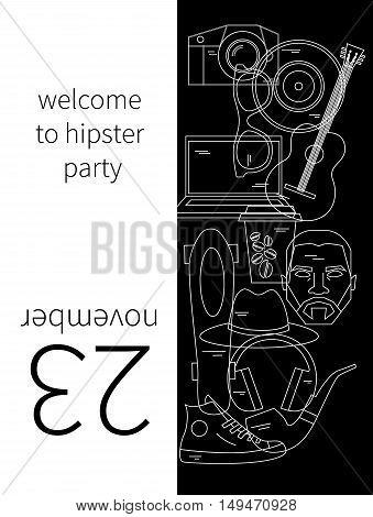 Hipster party invitation. Vector fashion set of linear icons. Trendy holiday elements for cards, greeting card, poster, postcard, ads, banners, flyers,  trendy cover of brochure