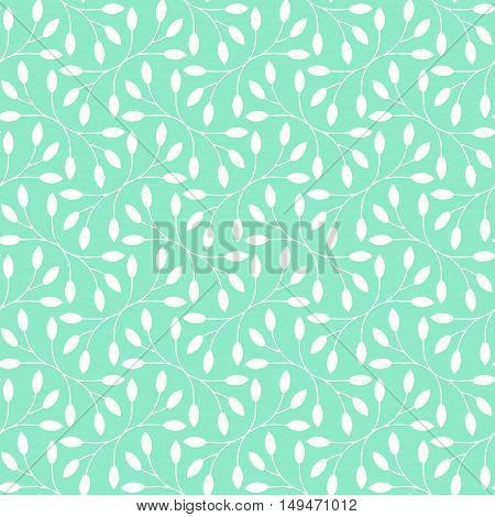 Seamless white leaves pattern on teal background