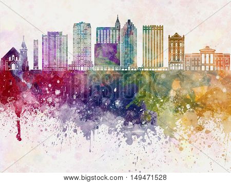 Raleigh skyline artistic abstract in watercolor background