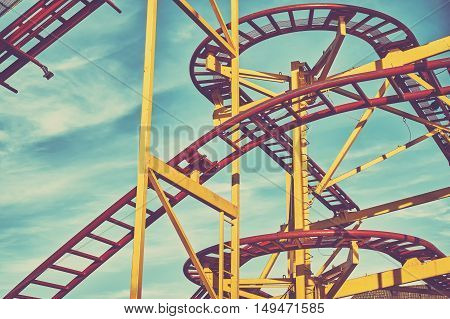Rollercoaster Track Construction In An Amusement Park