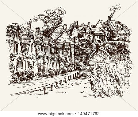 Houses of Arlington Row in the village of Bibury, England. Hand drawn illustration.