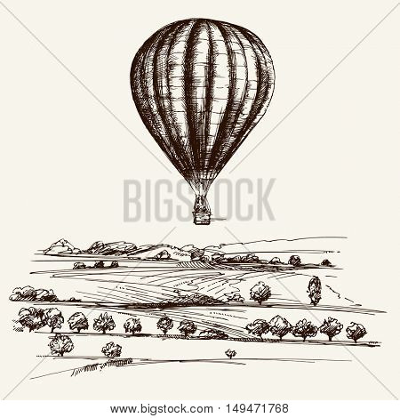 Hot air balloon over the field. Hand drawn illustration.