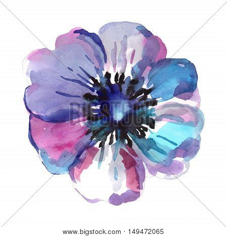 Watercolor illustration of a blue flower on a white background. Background for your design and decor.