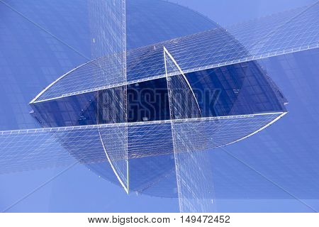 Abstract multiple exposure modern glass and steel futuristic architecture. Concept of choice, business. No photoshop or another photo editing.