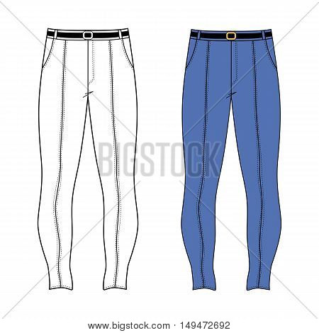 Unisex outlined template skinny jeans front view vector illustration isolated on white background
