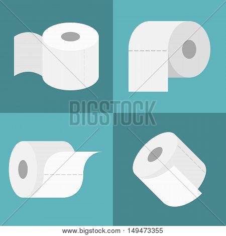 Vector tissue roll icons set, flat design