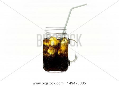 Glass of fizzy drink Cola with ice isolated on white background