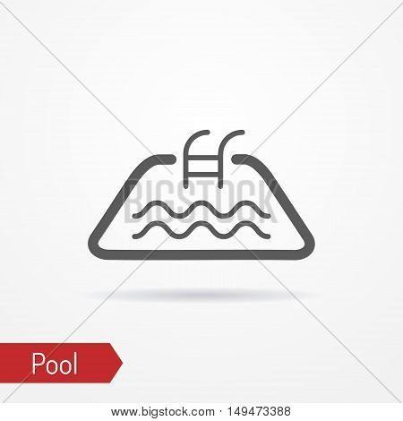 Abstract simplistic pool icon in line style with shadow. Small pool silhouette with water waves. Swim vector stock image.