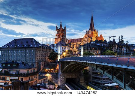 Lausanne Cathedral and city panorama. Lausanne Vaud Switzerland.